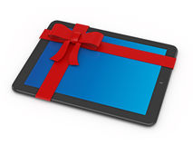 Tablet PC with red ribbon Stock Photos