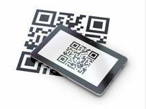 Tablet pc scanning qr code. 3d. Tablet pc scanning qr code on white background. 3d Stock Image