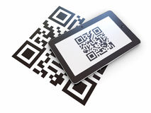 Tablet pc scanning qr code. 3d. Tablet pc scanning qr code on white background. 3d Stock Photography
