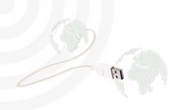 Tablet-PC schloss die Welt an Stockbilder