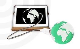 Tablet-PC schloss die Welt an Lizenzfreies Stockbild