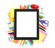 Tablet PC with school office supplies Royalty Free Stock Photo