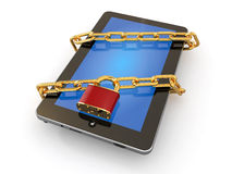 Tablet pc security. Chain with lock on computer. Royalty Free Stock Photos
