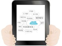 Tablet pc with SEO sign and tags on optimization royalty free illustration