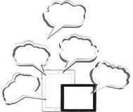 Tablet pc set with abstract cloud Stock Photos