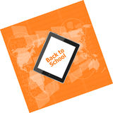 Tablet PC set with back to school word on it, education concept Royalty Free Stock Photography
