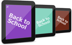 Tablet PC set with back to school word on it, isolated on white Stock Photo