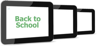 Tablet PC set with dack to school word on it, isolated on white Royalty Free Stock Images