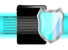 Tablet pc with shield. Protection of data on tablet Royalty Free Stock Photos