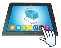 Tablet pc with shopping cart icon Royalty Free Stock Image