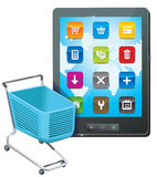 Tablet pc with shopping cart icon Stock Photo
