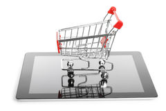 Tablet PC with shopping cart Royalty Free Stock Image