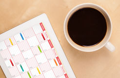 Tablet pc showing calendar Royalty Free Stock Images