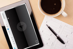 Tablet pc showing media player Royalty Free Stock Image