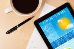 Tablet pc showing weather forecast on screen with a cup of coffe Royalty Free Stock Photography