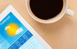 Tablet pc showing weather forecast on screen with a cup of coffe Stock Photography