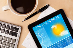 Tablet pc showing weather forecast on screen with a cup of coffe. Workplace with tablet pc showing weather forecast and a cup of coffee on a wooden work table Royalty Free Stock Image