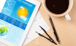 Tablet pc showing weather forecast on screen with a cup of coffe. Workplace with tablet pc showing weather forecast and a cup of coffee on a wooden work table Royalty Free Stock Photo