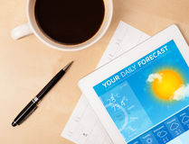Tablet pc showing weather forecast on screen with a cup of coffe. Workplace with tablet pc showing weather forecast and a cup of coffee on a wooden work table Stock Photos