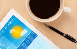 Tablet pc showing weather forecast on screen with a cup of coffe. Workplace with tablet pc showing weather forecast and a cup of coffee on a wooden work table Royalty Free Stock Photography