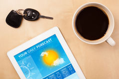 Tablet pc showing weather forecast on screen with a cup of coffe. Workplace with tablet pc showing weather forecast and a cup of coffee on a wooden work table Stock Photo