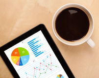 Tablet pc shows charts on screen with a cup of coffee on a desk Stock Photos