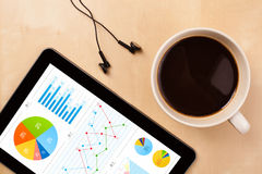 Tablet pc shows charts on screen with a cup of coffee on a desk Stock Image