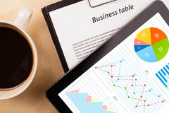 Tablet pc shows charts on screen with a cup of coffee on a desk Royalty Free Stock Photos