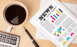 Tablet pc shows news on screen with a cup of coffee on a desk Stock Images