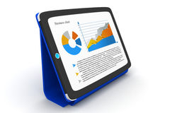 Tablet pc shows a spreadsheet and charts Royalty Free Stock Image