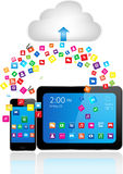 Tablet PC and Smart Phone with apps Royalty Free Stock Images