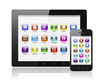 Tablet pc and smart phone with icons Royalty Free Stock Photography