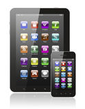 Tablet pc and smart phone with icons Royalty Free Stock Photo