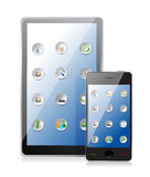 Tablet pc and smart phone with icons Royalty Free Stock Image