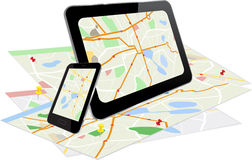 Tablet PC and Smart Phone with navigation system Stock Photos