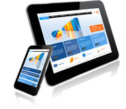 Tablet PC and Smart Phone. Tablet and Smartphone.Responsive website template on multiple devices