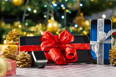 Tablet pc, smartphone and smartwatch for Christmas Stock Images