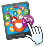 Tablet pc with social media icons. And hand cursor Stock Image