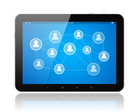 Tablet PC with social media illustration Stock Photography