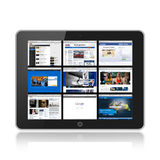 Tablet pc with social web media Stock Images