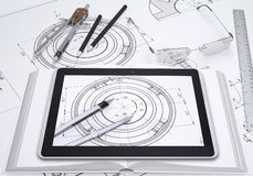 Tablet pc, some draftsman's instruments and Royalty Free Stock Image
