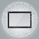 Tablet PC and sphere consisting of connections Stock Image
