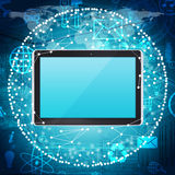 Tablet PC and sphere consisting of connections Royalty Free Stock Photography