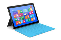 The tablet PC with a surface keyboard. The tablet PC with a surface blue keyboard Royalty Free Stock Image