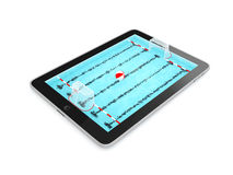 Tablet PC with Swimming pool  on White Background Royalty Free Stock Images
