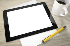 Tablet pc at the table Stock Images