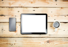 Tablet pc on table Royalty Free Stock Photo