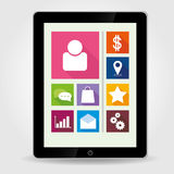 Tablet pc with tiled menu Royalty Free Stock Image