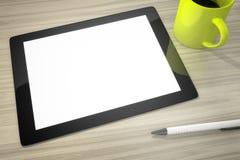 Tablet-PC am Tisch lizenzfreies stockbild