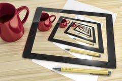Tablet-PC am Tisch lizenzfreie stockbilder